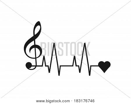 Music to Heart isolated on white background. Vector illustration.