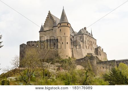 View of the castle of Vianden on the banks of the Moselle in Luxembourg