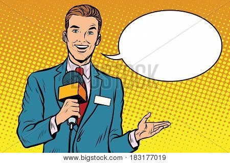 Broadcaster news is reporting live. Pop art retro vector illustration