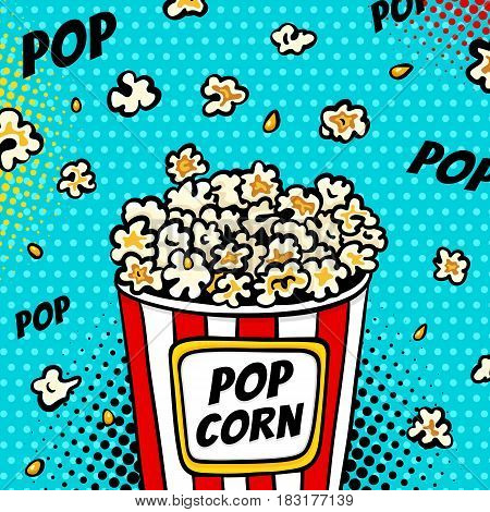 Pop Art Fast Food In The Cinema. Bright Background With Popcorn Popping Out Of The Box. Vector Illus