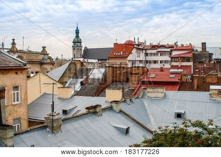 Beautiful and strange top view with roofs of old European town. Lviv Ukraine.