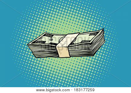 Packing of banknotes one hundred dollars. Pop art retro vector illustration