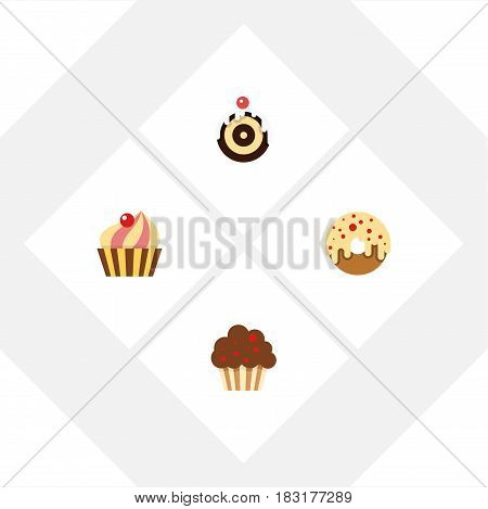 Flat Cake Set Of Sweetmeat, Muffin, Doughnut And Other Vector Objects. Also Includes Cupcake, Donuts, Doughnut Elements.
