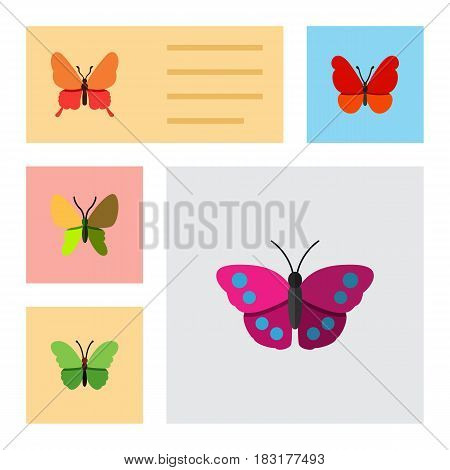 Flat Monarch Set Of Beauty Fly, Milkweed, Monarch And Other Vector Objects. Also Includes Butterfly, Milkweed, Archippus Elements.
