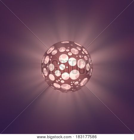 Abstract holed sphere with volumetric light beams 3d rendering