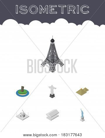 Isometric Cities Set Of Rio, Chile, Athens And Other Vector Objects. Also Includes MoAI, Christ, Pyramids Elements.