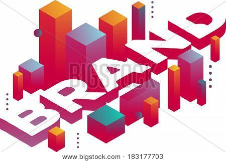 Vector illustration of three dimensional word brand with abstract colorful shapes on white background. Branding technology concept. 3d style design for web, site, banner, presentation