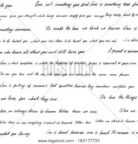 Seamless Pattern Made Of Handwritten Text. Phrazes And Quotes About Love And Relationships. English