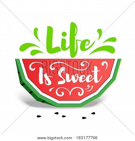 Paper Art Style Colorful Watermelon Vector Illustration.