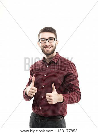 successful Manager makes two hand gesture thumb up at white background.the photo has a empty space for your text