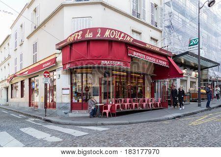 Paris, France, March 26, 2017: The Cafe des 2 Moulins French for