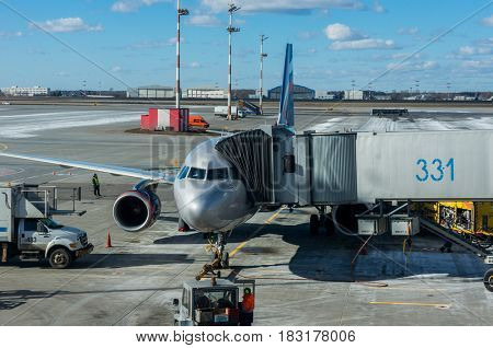 Moscow, Russia - March 25, 2017 Aircraft maintenance at Moscow's Sheremetyevo airport.