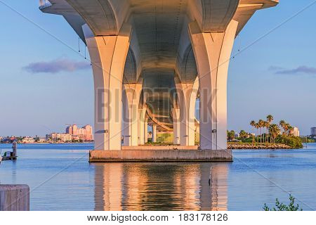 The Clearwater Memorial Causeway is a four-lane road between downtown Clearwater and Clearwater Beach Florida and includes a fixed-span bridge across the Intracoastal Waterway.