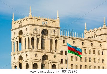 Azerbaijani flag at the government house in Baku city
