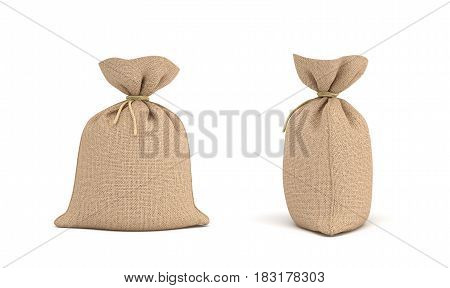 3d rendering of two canvas sacks tied with a rope, one sack in front view and another in side view. Transportation and delivery. Food and grains. Buying in bulk.