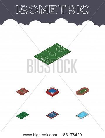 Isometric Competition Set Of Run Stadium, Tennis, Volleyball And Other Vector Objects. Also Includes Arena, Tennis, Stadium Elements.