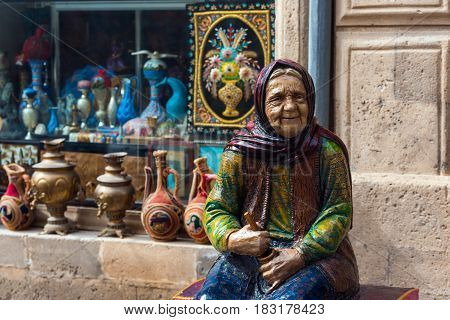 Azerbaijan, Baku, March 15, 2017. Figures of fairy-tale characters in old town