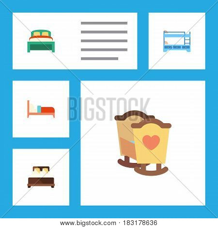 Flat Mattress Set Of Crib, Bearings, Bunk Bed And Other Vector Objects. Also Includes Mattress, Child, Double Elements.