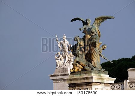 ROME, ITALY - SEPTEMBER 01: Statues of the Thought and Strength in the monument to Victor Emmanuel II. Venice Square, Rome, Italy  on September 01, 2016.