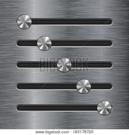 Metal slider bar. Stainless steel brushed surface with round buttons. Vector illustration