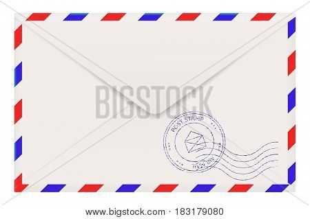 Air mail envelope back side. Vector illustration isolated on white background
