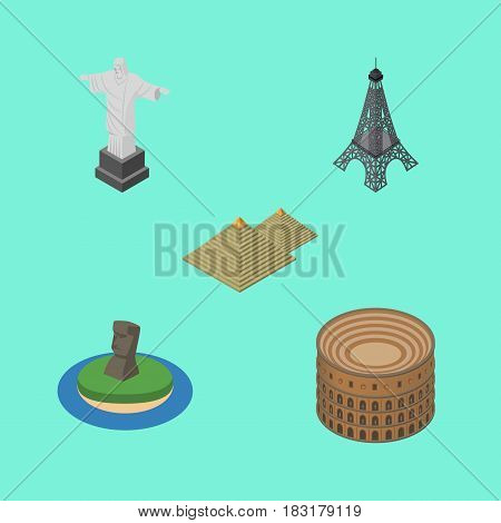 Isometric Attraction Set Of Rio, Egypt, Coliseum And Other Vector Objects. Also Includes Eiffel, MoAI, Attraction Elements.