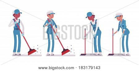 Set of male and female smiling young janitor in a blue suit, sweeping the floor with broom, holding dustpan, professional cleaning, home and office service, isolated on white background