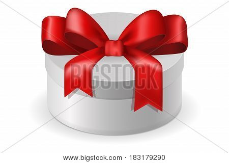 White box with red ribbon bow. Vector illlustration isolated on white background
