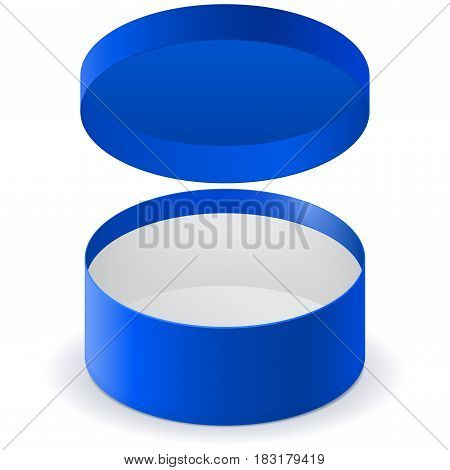 Blue round box. Vector illlustration isolated on white background