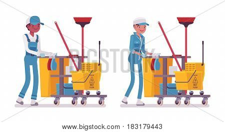 Set of male and female smiling janitor in a blue suit pushing yellow plastic cart with cleaning tools, mop, broom, bucket, caution wet floor sign, home and office service, isolated on white background
