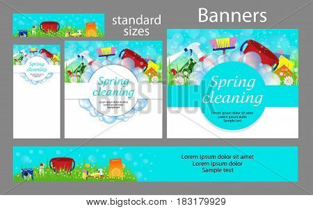 Cleaning service. Set spring banners for the website. Templates standard size. Vector illustration.