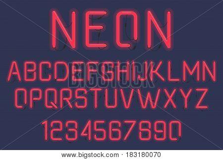 Neon glow alphabet. Neon tube letters on dark background