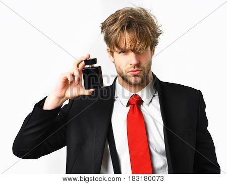 Caucasian Stylish Man Posing With Perfume Isolated On White