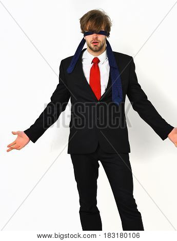 Bearded Macho Stylish Man In Elegant Suit With Blindfold Eyes