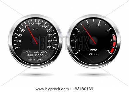 Speedometer, tachometer. Black gauge with chrome frame. Vector illlustration isolated on white background