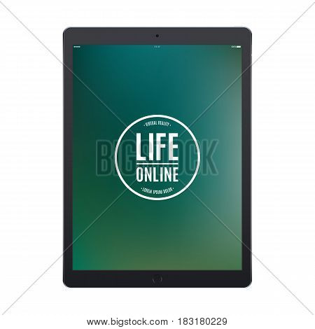 tablet frosted black color with colored screen isolated on white background. stock vector illustration eps10