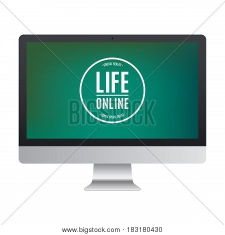computer frosted black color with colored screen isolated on white background. stock vector illustration eps10