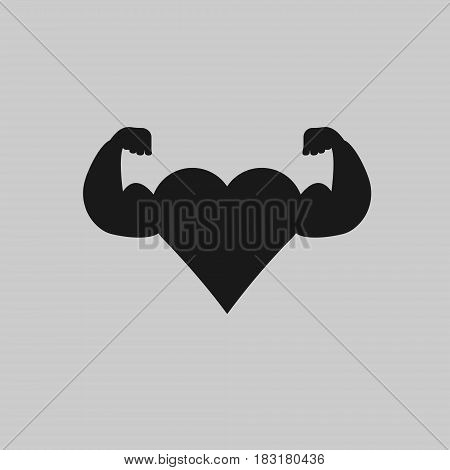 Heart biceps isolated on white background. Vector illustration. Eps 10