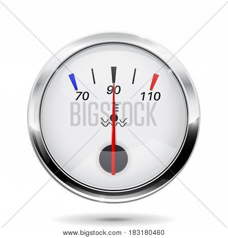 Car temperature gauge. With chrome frame. Vector illlustration isolated on white background