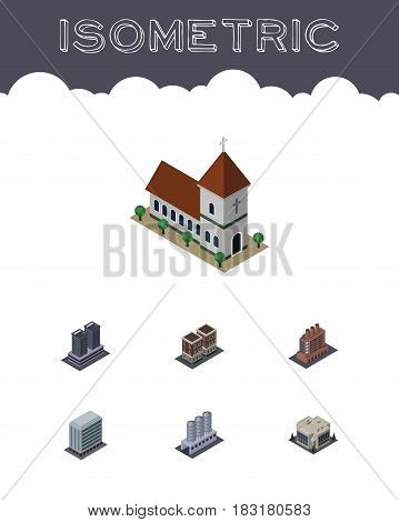 Isometric Urban Set Of Tower, Office, House And Other Vector Objects. Also Includes Storage, Warehouse, Factory Elements.
