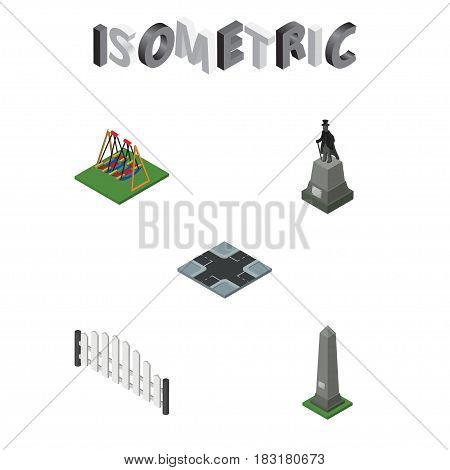 Isometric City Set Of Dc Memorial, Sculpture, Seesaw And Other Vector Objects. Also Includes Fence, Sculpture, Swing Elements.