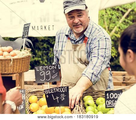 Man owner fresh grocery organic shop