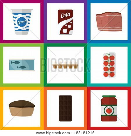 Flat Food Set Of Tin Tuna, Fizzy Drink, Tomato And Other Vector Objects. Also Includes Box, Fizzy, Confection Elements.