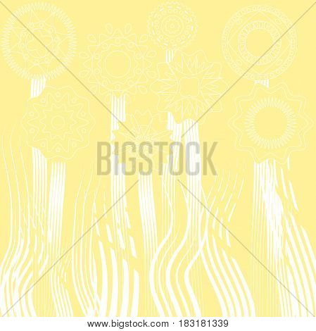 drawing template flowers and grass circles ethnic yellow background