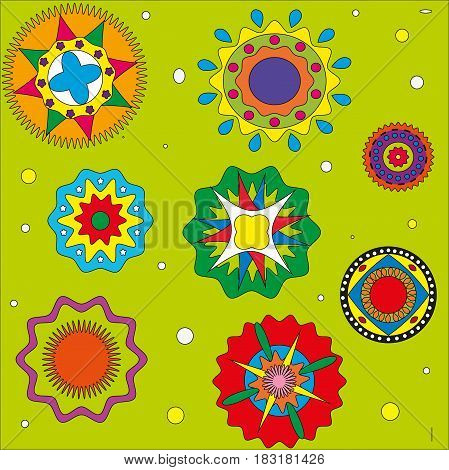 Pattern on a green background circles color patterns ethnic