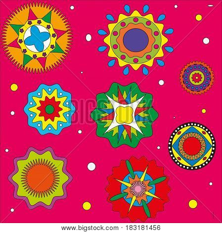 Pattern on a pink background circles color