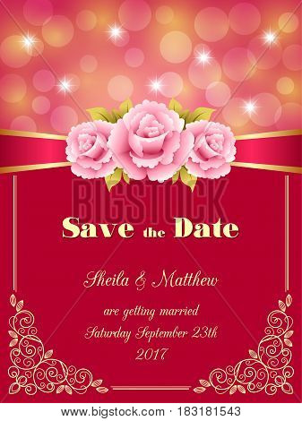Save the Date card wedding invitation with decorative design elements and bokeh lights. Vector illustration