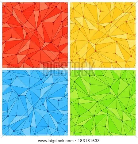 Collection of color polygonal mesh seamless patterns