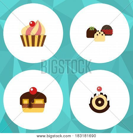 Flat Cake Set Of Dessert, Cake, Sweetmeat And Other Vector Objects. Also Includes Sweetmeat, Cake, Cupcake Elements.