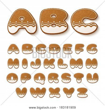 Set of gingerbread cookies with icing. Alphabet. Vector illustration